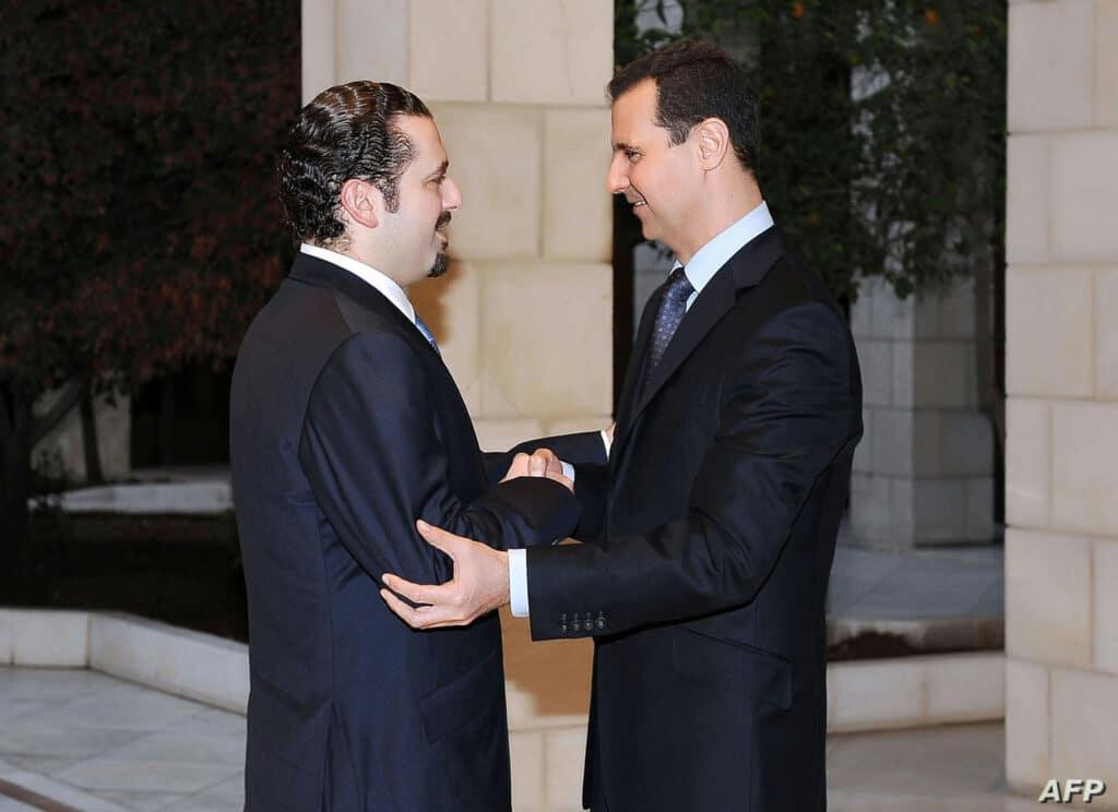 """""""شاهد"""" كيف """"ذبح"""" بشار الأسد سعد الحريري في دمشق"""