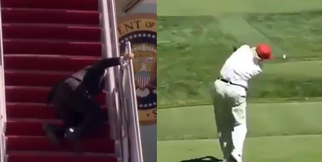 """نجل ترامب يسخر من سقوط بايدن على درج الطائرة بفيديو """"خبيث"""" لوالده!"""