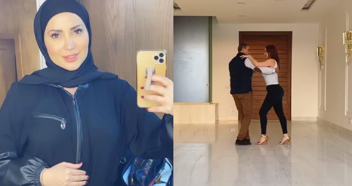 نسرين طافش تثير الجدل بخلع الحجاب لتؤدي وصلة رقص مع مدرب رقص مصري!
