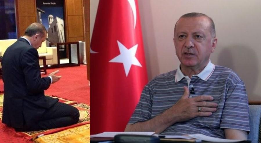 فيديو مسرب يظهر أردوغان يؤم أسرته ومسؤولين مقربين منه في الصلاة
