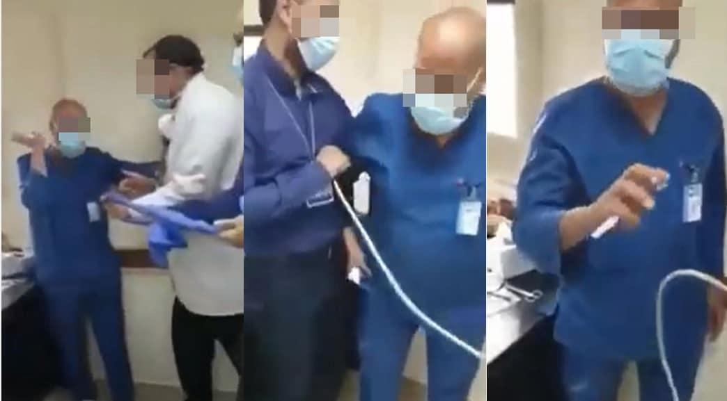 Der Leiter der orthopädischen Abteilung der Ain Shams University befiehlt einer älteren Krankenschwester, sich vor seinem Hund niederzuwerfen und ihn zu beleidigen