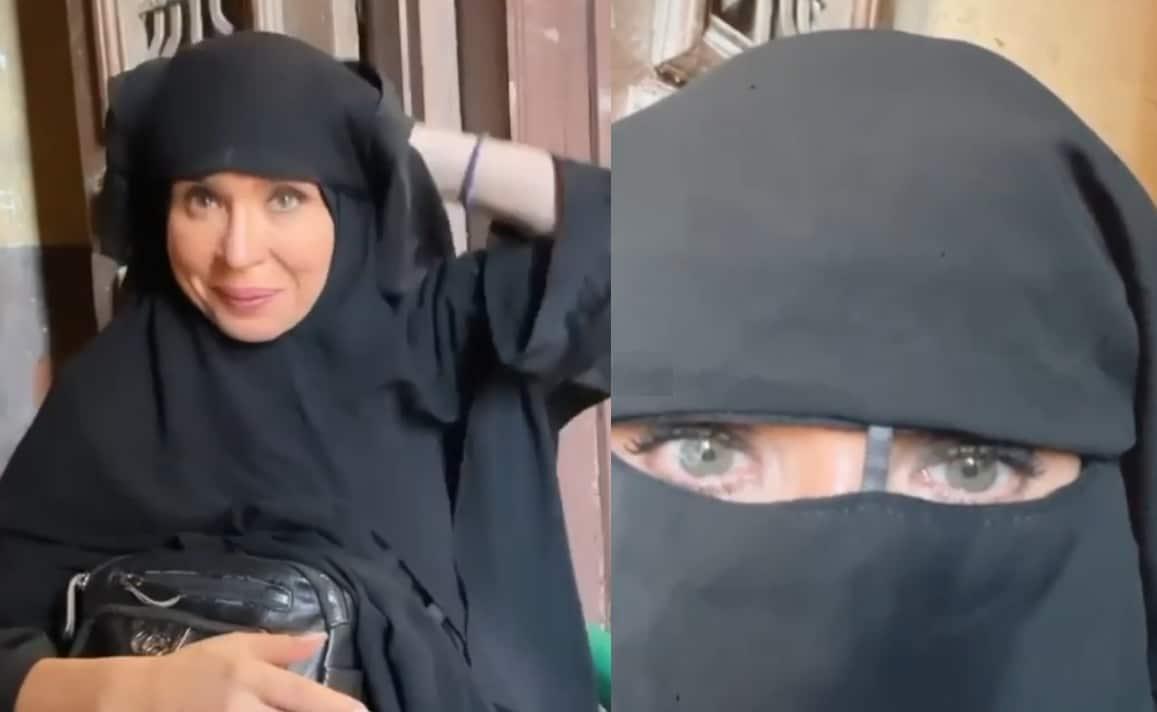 الراقصة دينا تظهر بالنقاب بعد شهر من ظهورها بالحجاب .. ما سرّ الإطلالة الغير عادية! (شاهد)