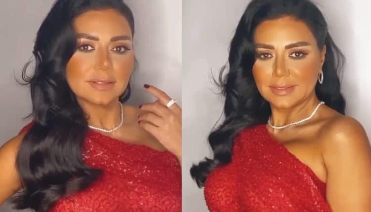 رانيا يوسف بالفستان الأحمر المثير