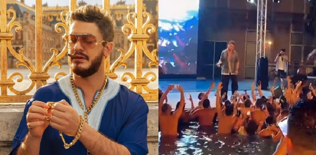 Saad Lamjarred presents a party from Dubai from a swimming pool