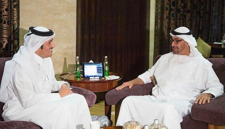 محمد بن زايد ووزير خارجية قطر