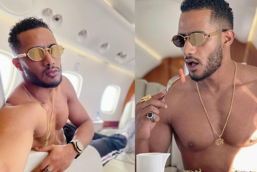 Muhammad Ramadan topless on his plane