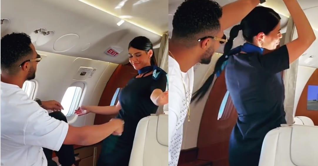 Mohamed Ramadan dances with the flight attendants