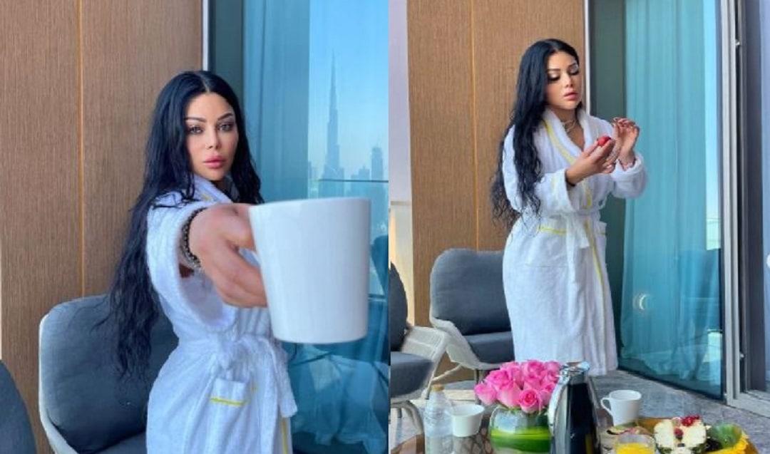 Celebrities preceding Haifa Wehbe with a bathrobe